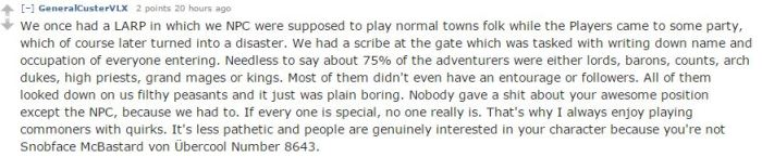 A redditor shares a story of nobilty being 75% of the player base.
